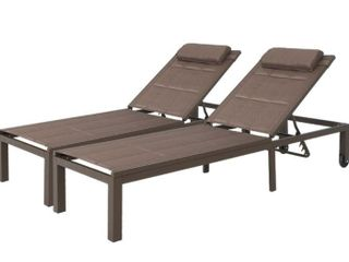 1 Outdoor Adjustable Quilted Chaise lounge Chair with Wheels   75 98 24 21 12 99 inches  Retail 179 99