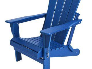 Braxton Folding Plastic Adirondack Chair  Navy Blue