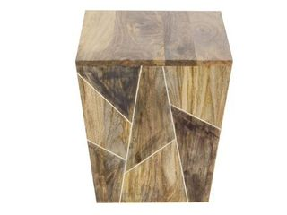 Modern 17 x 15 Inch Trapezoidal Wooden Side Table by Studio 350