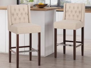 Bayliss Contemporary Wingback Fabric Barstools  Set of 2  by Christopher Knight Home Beige