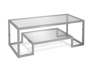 Athena Glam Metal Glass Geometric Coffee Table in Silver Nickel Finish