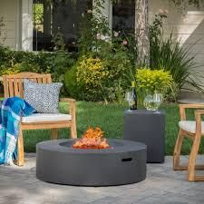 Santos Circular Propane Fire Pit Table by Christopher Knight Home   Grey Retail  932 49