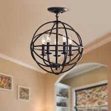 Copper Grove St  Mary Antique Black 5 light Iron Orb Flush Mount   Retail 119 99