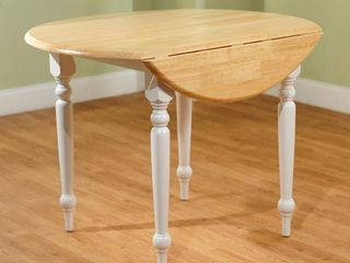 Simple living Two tone 40 inch Rubberwood Round Drop leaf Table   White  Retail 169 99