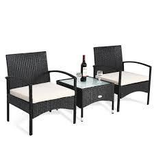 3 Piece Outdoor Patio Conversation Set with Cushions  Retail 213 49
