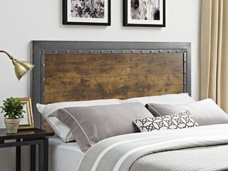 WE Furniture Queen Size Industrial Wood and Metal Panel Headboard only Brown