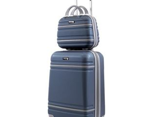 American sports plus Varsity 2 Piece Carry On 20 11  Cosmetic Weekender luggage Set  Slate Blue Grey  Retail 79 98