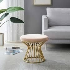 Silver Orchid Burkett Round Ottoman   Stool with Metal Base  Retail 115 49 pink velvet
