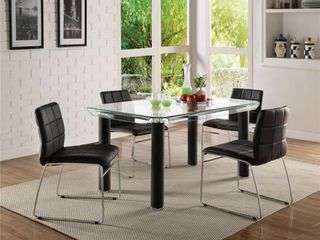leatherette Upholstered Side Chair with Metal Base Support  Black and Silver  Set of Two  Retail 369 99