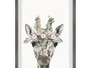 Marmont Hill   Handmade Floral Crowned Giraffe Framed Print  Retail 115 49