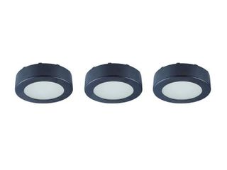 Commercial Electric 3 light lED Black AC Puck light Kit  White