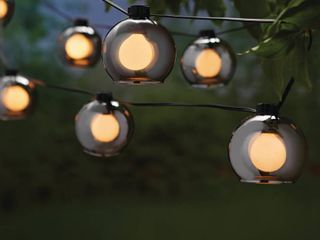 Hampton Bay Outdoor Indoor 10 ft  Plug In Incandescent G Type Bulb String light with 8 Smoky Glass Shades