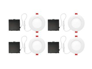 Globe Electric Designer Ultra Slim 4 in  White Integrated lED Recessed Kit  4 Pack