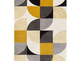 Well Woven Good Vibes Margot Gold Modern Geometric Shapes 5 3  x 7 3  High low Area Rug