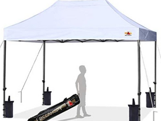 ABCCANOPY Pop up Canopy Tent Commercial Instant Shelter with Wheeled Carry Bag  10x15 FT  White