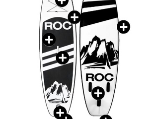 Roc    Black   White Inf Paddle Board  Pump   hose   Fin  Paddle