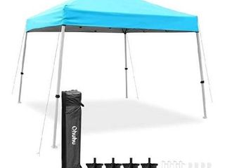 ohuhu pop  up slant leg canopy tent  instant shelter with wheeled carry bag 10x10  blue