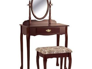 Cherry Vanity Table and Stool