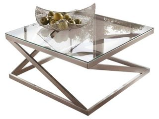 Coylin Square Cocktail Table Brushed Nickel Finish   Signature Design by Ashley