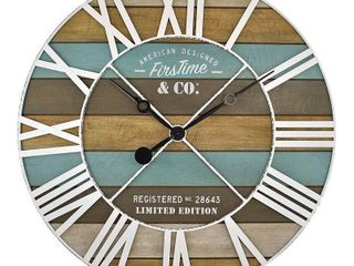24  Maritime Farmhouse Planks Wall Clock Natural Wood Aged Teal   FirsTime   Co