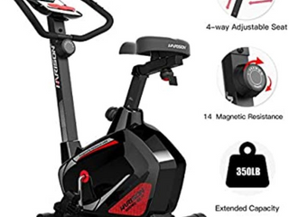 HARISON Stationary Upright Exercise Bike with Magnetic Resistance for Indoor Home Gym Cardio Workout  BlACK