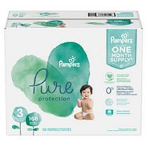 Pampers Pure Disposable Diapers One Month Supply   Size 3  168ct
