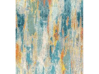 JONATHAN Y Contemporary Pop Modern Abstract Vintage Waterfall light Blue Multi 4 ft  x 6 ft  Area Rug