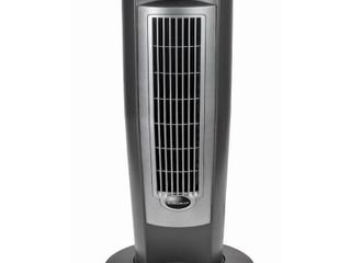 lasko Wind Curve Tower Fan with Nighttime Setting  Gray Silver