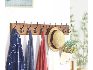 10 hook coat hanger brown