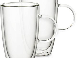 Villeroy   Boch Artesano Hot Beverages 15 oz  Extra large Double Wall Cup  2 Pack  Clear