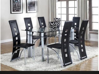 Crown Mark Echo Side Dining Room Chairs  Black   2 chairs