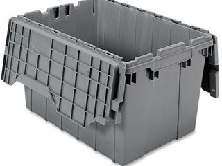Akro Mils 39120 Industrial Plastic Storage Tote with Hinged Attached lid   21 Inch l by 15 Inch W by 12 Inch H  Gray