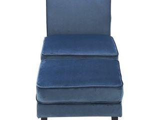 Elle Decor Olivia Upholstered Accent Foot Rest Ottoman  Modern Velvet Microfiber Armless Sofa Chair for living Room  Bedroom  or Office  Cobalt Blue