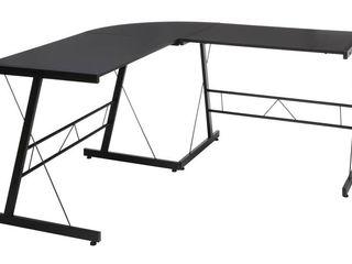 OFM Essentials Collection 60  Metal Frame l Shaped Desk  Corner Computer Desk  in Black  ESS 1021  BlK BlK