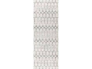 JONATHAN Y Moroccan HYPE Boho Vintage Diamond Cream Gray 2 ft  3 in  x 8 ft  Runner Rug