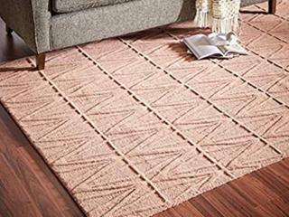 Amazon Brand a Rivet Sunset Textured Geo Pattern Wool Area Rug  5 x 8 Foot  Pink