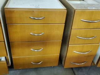 (2) 4 Drawer Wood Cabinets