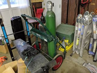 Compressed Oxygen And Dissolved Acetylene Tanks With Dolly