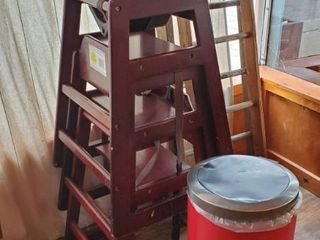 3  Wood High Chairs  Booster Seat  Trash Can