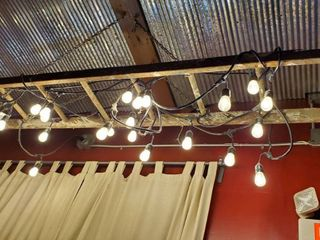 Wood ladder With String lights