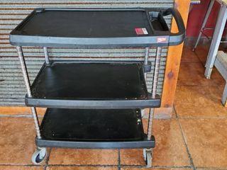 3 Tier Rolling Black Cart