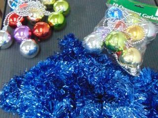Christmas ornaments   tinsel