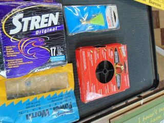 Fishing lot   Stren   Trilene line   plastic worms   heavy jig