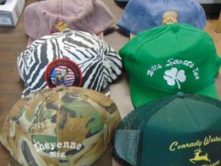 huge baseball cap lot   hunting   Ted Nugent   Mickey Mouse