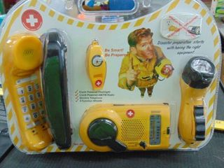 Emergency kit   phone   radio   flashlight   compass