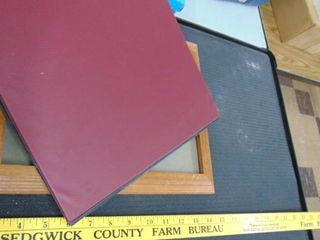 3 ring binder   nice wood frame
