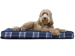 FurHaven Pet Dog Bed Deluxe Memory Foam Faux Sheepskin   Plaid Mattress Pet Bed for Dogs   Cats  Midnight Blue  large