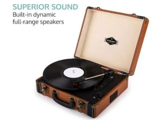 Auna   Jerrylee Usb Record Player Retro Turntable Phonograph Suitcase   Brown