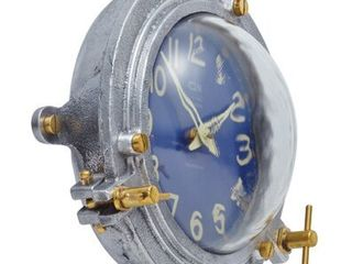 Vintage Replica Steamboat Ocean Blue Wall Clock  Brass Knobs  High Contrast Dial