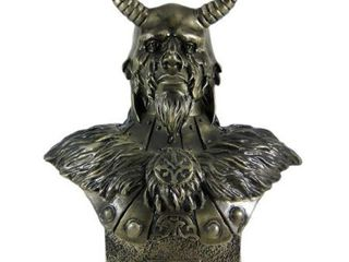 11 Inch loki Armored God with Horns Head and Bust Statue Figurine